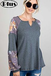 FLORAL PRINT SOLID THERMAL MIXED V NECK PLUS TOP