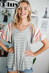 MULTI STRIPE V NECK FLARE SHORT SLEEVE PLUS TOP