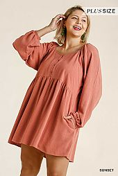 Button Front Long Sleeve Babydoll Dress