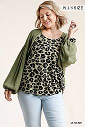 Animal Print Long Balloon Sleeve Top