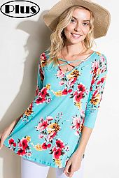 FLORAL JERSEY LACE UP V NECK 3/4 SLEEVE PLUS TOP