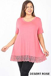 SOLID SHORT SLEEVE LACE HEM PLUS TOP