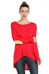 SEQUIN ELBOW PATCHED HI-LO TUNIC