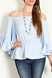 SOLID WOVEN OFF SHOULDER BLOUSE