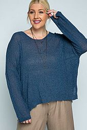 Plus size light knit pullover sweater