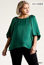 Half Balloon Sleeve Round Neck Top