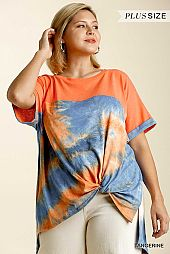 Colorblock Tie Dye Short Sleeve Front Knot Detail Top