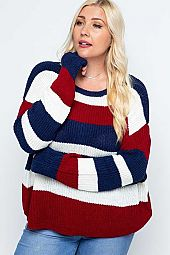 KNIT COLOR BLOCK PULLOVER SWEATER