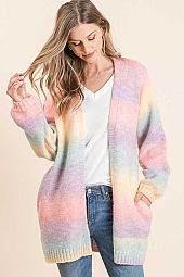 RAINBOW STRIPE BRUSH OPEN CARDIGAN