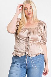 DRAWSTRING LACE UP RUFFLE HEM BLOUSE