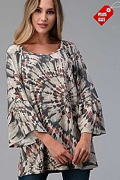 MULTI PRINT RUFFLE SLEEVE TOP PLUS