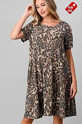 LEOPARD PRINT  SWING DRESS PLUS