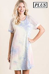 FRENCH TERRY TIE DYE PRINT WITH LACE SLEEVE DRESS