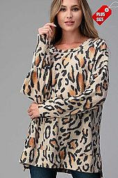 LEOPARD SLIT SIDE BANDED TOP PLUS
