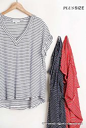 Flowy Fit Striped V Neck Top