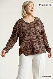 Animal Print French Terry Long Sleeve Top