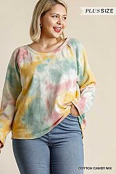 Tie Dye Long Raglan Sleeve Raw Edged Hem Top