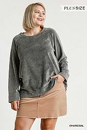 Long Sleeve Mineral Washed Velvet Crewneck Top