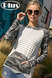 CAMOUFLAGE STRIPE MIX PK HOODIE HIGH LOW PLUS TOP