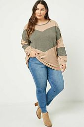 Plus Contrast Panel Soft Knit Top