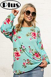 FLORAL JERSEY TIERED PUFF LONG SLEEVE TOP