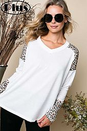 TERRY SOLID ANIMAL MIX V NECK RAW EDGE PLUS TOP