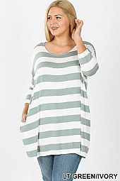 PLUS STRIPE FABRIC DROP SHOULDER BOXY TOP