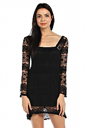 LACE OVERLAY SQUARE NECKLINE DRESS