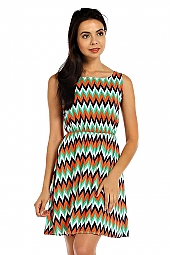 CHEVRON PRINT WOVEN DRESS