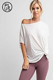 Plus Short sleeve top with asymmetric hem