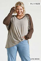 Animal Print V-Neck Raglan Sleeve Raw Edged Top