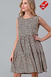 PLUS LEOPARD PRINT TIER RUFFLE DRESS