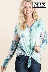 TIE DYE FRENCH TERRRY FRONT BUTTON HOOD TOP