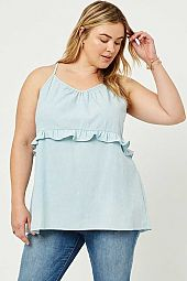 Plus Chambray Ruffle Tank