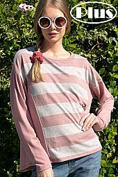 TERRY STRIPE SOLID MIXED LONG SLEEVE BOXY PLUS TOP