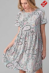 PAISLEY PRINT SHIRRED POCKET DRESS PLUS