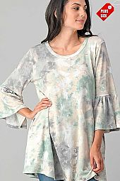 TIE DYE RUFFLE SLEEVE TUNIC WITH POCKETS PLUS