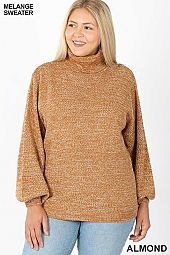 PLUS TURTLENECK MELANGE BALLOON SLEEVE SWEATER