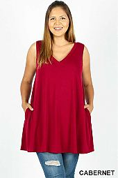 PLUS SLEEVELESS V NECK FLARED TOP WITH POCKETS
