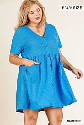 Faux Button Front Babydoll Dress
