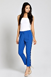 SIDE LATTICE CUTOUT ANKLE PANTS