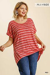 Striped Round Neck Short Sleeve Top