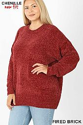 PLUS ROUND NECK LONG SLEEVE CHENILLE SWEATER