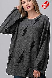 LIGHTNING WIDE SLEEVE SLIT BAND TOP PLUS