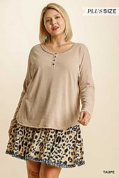 Button Front Round Neck Long Sleeve Top