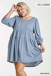 Button Front and Sleeve Tiered Babydoll Dress