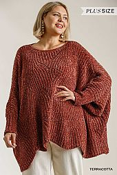 Long Sleeve Chenille Knit Pullover Sweater