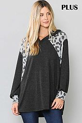 ANIMAL PRINT SOLID COLOR BLOCK HOODIE TOP