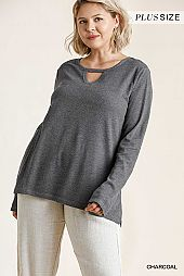 Cut Out Detail Waffle Knit and Ribbed Top