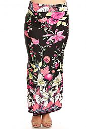 TROPICAL FLORAL PRINT JERSEY MAXI DRESS